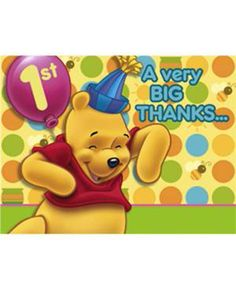 Pooh's 1st Birthday Party Thank You Cards