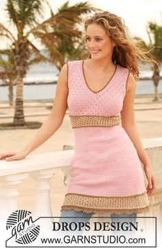 """DROPS tailored dress in """"Safran"""" with lace pattern and crochet borders. Size XS - XXL. ~ DROPS Design"""