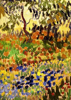 """huariqueje: """" Jardin en Fleurs (detail) - Vincent van Gogh, 1888, """""""