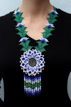Huichol Necklace, Necklace, Native Beaded Necklace, Huichol Flower Necklace, Huichol Jewelry, Native