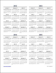 multi year calendar template