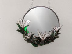 White Lilies Stained Glass Mirror