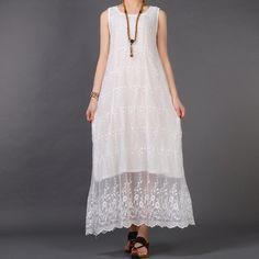 White Amaryllis Embroidered Net Dress