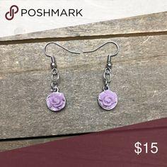 3 for $25 Handmade Silver/ Purple Flower Earrings Beautiful handmade silver and light purple dangle flower charm earrings made with nickel free metal earring wire posts. handmade Jewelry Earrings