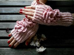 Fingerless Gloves,Knitted Gloves,Mittens Crochet,Handmade,Long Gloves,Shimmer Pink,Winter Gloves,Hand Warmer,Flower Gloves,Gift Ideas by YASEMINYASEMIN on Etsy