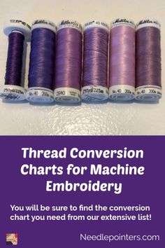 Our extensive list of over 80 machine embroidery thread conversion charts for all types of embroidery thread - Brother, Coats & Clark, ARC, and more. Janome Embroidery Machine, Brother Embroidery Machine, Machine Embroidery Projects, Free Machine Embroidery Designs, Embroidery Supplies, Learn Embroidery, Embroidery Ideas, Applique Designs, Embroidery Monogram