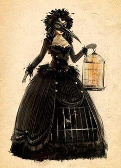 Theme idea: Raven carrying a birdcage Halloween 2015, Halloween Cosplay, Cosplay Costumes, Halloween Party, Halloween Costumes, Masquerade Costumes, Masquerade Ball, Steampunk, Raven Costume