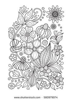 Doodle Floral Pattern In Black And White Page For Coloring Book Relaxing Job Children Adults Zentangle Drawing