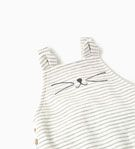 6/9. STRIPED DUNGAREES WITH EMBROIDERED FACE-LEGGINGS AND TROUSERS-MINI | 0-12 months-KIDS | ZARA United States