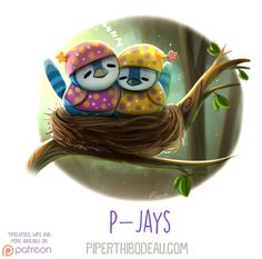 Daily Paint 1630. P-Jays by Cryptid-Creations.deviantart.com on @DeviantArt