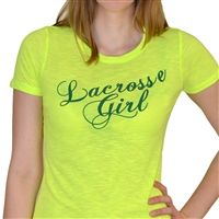 Womens Neon Series Lacrosse Tee Lacrosse Girl Script - Our brightly colored, neon tee is sure to make a splash. Each light weight, heathered shirt features a slim, womens cut, cap sleeves, and textured ribbing in the fabric.