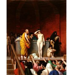 Slave Auction, Jean-Leon Gerome, 1880s.  Soon, Gerome turned to even more fantastic settings and more erotic portrayals.  Here we are in ancient Rome.  All the slaves on display are white girls, stripped naked, and they're obviously much-sought-after and apprehensive about it.  The girl crouching on the right looks directly at you, the viewer, as if she hopes you'll buy her.  But still there are elements of historical realism.