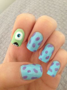 Make an original manicure for Valentine's Day - My Nails Disney Acrylic Nails, Disney Nails, Best Acrylic Nails, Disney Nail Designs, Cute Nail Art Designs, Monster Inc Nails, Gel Nails, Manicure, Pretty Nail Art