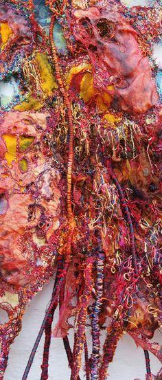 Metamorphosis detail by Sue Hotchkis, Textile Fiber Art, Textile Artists, Creative Textiles, Textiles Techniques, Plastic Art, Sewing Art, Texture Art, Community Art, Fabric Art
