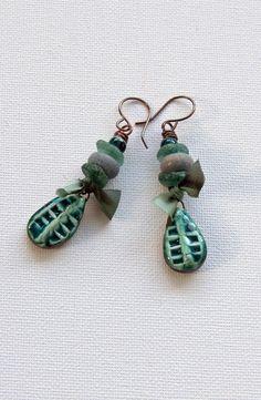 Roman glass  lampwork tribal earrings by WinterBirdStudio on Etsy