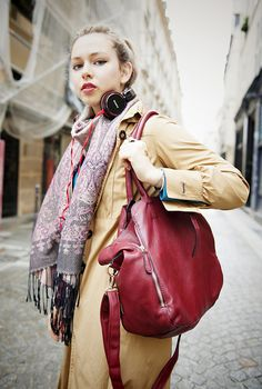fun street style!! love the scarf, jacket, and bag...don't forget your headphones too