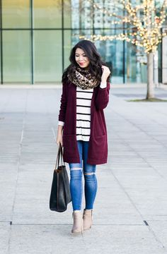 Burgundy cardigan outfit, striped top, leopard scarf, fall outfit, petite f Outfit Jeans, Maroon Cardigan Outfit, Burgundy Outfit, Burgundy Cardigan, Cardigan Outfits, Cardigan Styles, Burgundy Leggings, Cardigan Sweaters, Black Leggings