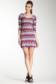 Purple 3/4 Sleeve Zigzag Dress