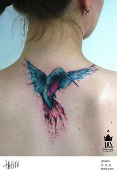 hummingbird by Rodrigo Tas, Sao Paulo, Brazil | back tattoos for women