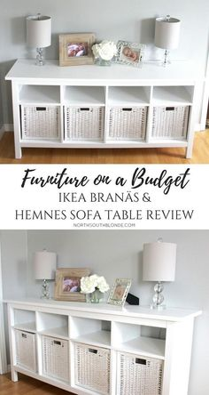 IKEA BRANÄS AND HEMNES SOFA TABLE | furniture on a budget | farmhouse, white, chic, glam, rustic home decor & design ideas