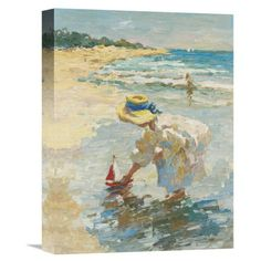 Great for 'Seaside Summer II' by Vitali Painting Print on Wrapped Canvas by Global Gallery Wall Art Decor from top store Painting Frames, Painting Prints, Framed Art Prints, Fine Art Prints, Coastal Wall Art, Beach Art, Girl Beach, Seaside, Original Art