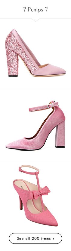 """""""♡ Pumps ♡"""" by marcellamic ❤ liked on Polyvore featuring shoes, pumps, giambattista valli, heels, pink, real leather shoes, pink heeled shoes, pink leather pumps, pink shoes and high heels"""