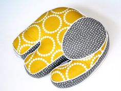 Elephant Pillow Yellow White Gray Nursery Crib by CecilClyde