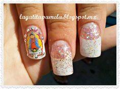 Gatita's nail art: Virgencita de Guadalupe en Uña Acrilica