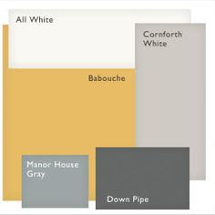 Farrow and Ball Paint Scheme--Our tile is an off yellow. I'm loving the greys in this!