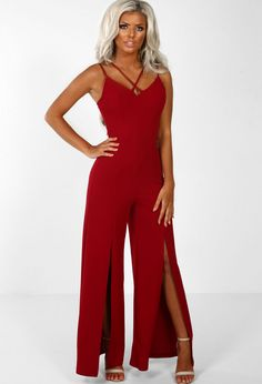 f8f84056f3c Midnight Vibes Burgundy Split Wide Leg Jumpsuit - 8. Pink Boutique UK