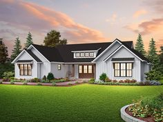 This modern farmhouse exterior gives you a chic front porch. Inside, the open layout feels modern and bright. Questions? Call 1-800-447-0027 today. #architect #architecture #buildingdesign #homedesign #residence #homesweethome #dreamhome #newhome #newhouse #foreverhome #interiors #archdaily #modern #farmhouse #house #lifestyle #designer House Plans One Story, Best House Plans, One Story Homes, Single Story Homes, Contemporary Style Homes, Contemporary House Plans, Contemporary Design, Clapboard Siding, Modern Farmhouse Plans