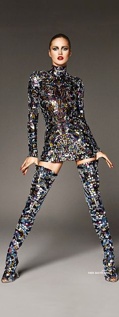 Karmen Pedaru in Tom Ford's Multicolor broken-mirror Mini Dress & Thigh-High Boots ♔ SS 2014 ♔ THD