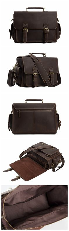 VINTAGE STYLE GENUINE LEATHER BRIEFCASE MESSENGER BAG MEN'S HANDBAG