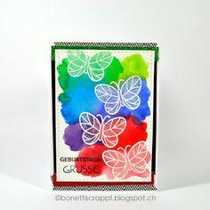 Geburtstagskarten Birthday card  Stempel / Stamp Lawn Fawn Flutter by