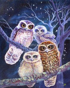 'Boobook Owl Family' Canvas Print by katemccredie Anime Art Fantasy, Owl Artwork, Image Deco, Owl Family, Family Canvas, Owl Pictures, Beautiful Owl, Mosaic Diy, Wise Owl