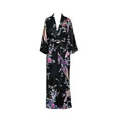Purple Womens Robe Hot Sale Faux Silk Kimono Bath Gown Female Sexy
