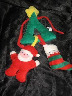 Bantam Vintage Christmas Tree Stocking Santa Claus Plush Rattle Toy Lovey