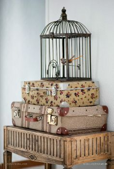cage with suitcases Vintage Suitcases, Vintage Luggage, Shabby Chic, Shabby Cottage, Vintage Trunks, Bird Cages, Home And Deco, Plywood Furniture, Bird Houses