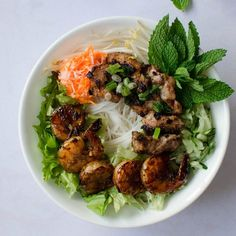 Vietnamese Vermicelli Bowls with Grilled Lemongrass Pork and Shrimp (Bun Thit Nuong)