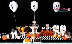 Ghost Party Ideas-http://atozebracelebrations.com/2012/10/ghost-party-ideas.html