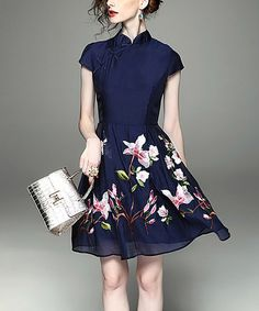 Another great find on #zulily! Blue Floral Mandarin Collar Fit & Flare Dress #zulilyfinds