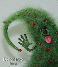 Knitted And Felted Green Christmas New Year by InnaDanchenkoArt, €50.00