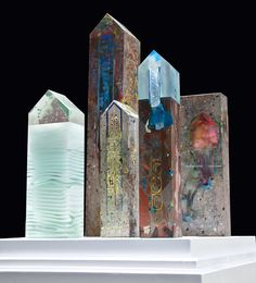 Small House series, cast glass in cast concrete, part of a series including…
