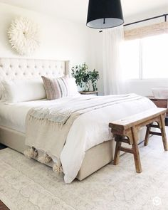 Master bedroom color/decor idea. Furniture, lighting and set up are very similar to Rustic Natural #beautifulbedding #dedroomdesign #bedroomdesigns