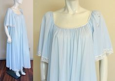 Vintage 1970s Lucie Ann Claire Sandra Beverly Hills Nightgown Gown Full Length Blue Grand Sweep by MemphisVintage on Etsy