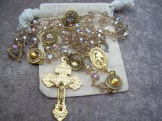 Unique One of a Kind entirely wire wrapped Rosary with gold filled wire Featuring a Miraculous Medal and a Pardon Crucifix  Marian Rosary