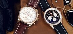 Two Breitling Chronographs in 18k - the Transocean & the Navitimer