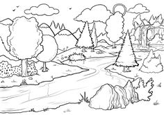 for girls Waterfall Coloring Pages Best Coloring Pages For Kids for kids Forest Coloring Pages, Cute Coloring Pages, Animal Coloring Pages, Coloring Pages To Print, Coloring Sheets, Adult Coloring, Coloring Books, Art Drawings For Kids, Drawing For Kids