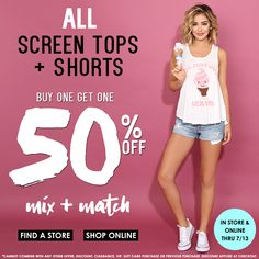 Buy One, Get One 50% Off All Screen Tops + Shorts at Styles For Less - BOGO 50%