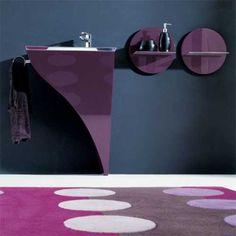 Modern bathroom style in purple.